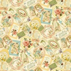 Wilmington Secret Garden by Graphic 45 - 85567 123 Ivory Packed Cards $9.50/yd