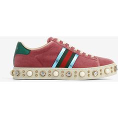 Gucci Gucci Ace Sneakers (2 900 PLN) ❤ liked on Polyvore featuring shoes, sneakers, red, red shoes, gucci footwear, red studded shoes, gucci sneakers and red trainers