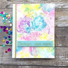 The Card Concept Hello Spring designed by Marcie Sharp Gold Glitter Paper, Distress Oxide Ink, Spring Design, Spring Bouquet, Hello Spring, Simon Says Stamp, Hero Arts, I Card, Card Stock