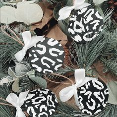Monochrome Leopard Print Wooden Christmas Baubles - 4
