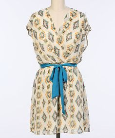 Another great find on #zulily! Ivory & Blue Tribal Belted Surplice Dress by Hello Miss #zulilyfinds