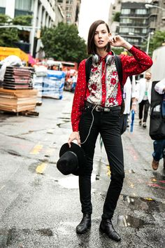 I LOVE THIS. black pants, black ankle boots, red patterned floral button down shirt, black hat