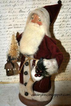 Folk Art, Primitive OOAK, Santa Doll... Jolly Olde Lil St. Nick.. via Etsy.