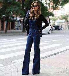 jardineira jeans e flare = muito amor!