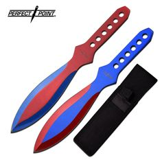Perfect Point Jester Throwing Knife Set 8.5″ Overall Features: 2 Piece Throwing Knife Set 8.5″ OVERALL STAINLESS STEEL BLADES RED & BLUE 2 TONE ELECTRO PLATED BLADE ELECTRO PLATED C…