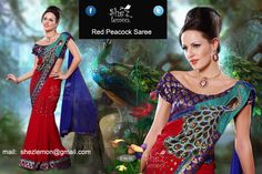 Red Peacock Aari Patch Work Designer Wear Saree. Available for sale. Mail: shezlemon@gmail.com. Price Inr 5500.00 /  Usd 90.00. Shipping all over world.
