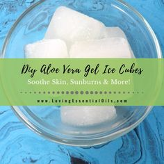 How To Make Aloe Vera Gel Ice Cubes To Soothe Sunburns Aloe Vera For Sunburn, Diy Aloe Vera Gel, Ice Cubes For Face, Moisturizer For Dry Skin, Essential Oils, Natural Beauty, Organic Beauty, Natural Skin, Amigurumi