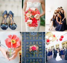 Little less coral and little more green in the bouquets, but like it....Navy   Neon Coral Wedding Color Palette to Adore | OneWed