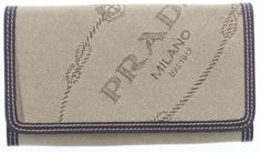 Unisex PRADA Beige Canvas Logo Jacquard  Bifold Wallet With Dust Wrap