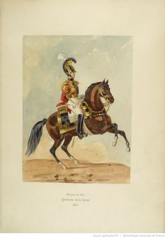 French; Maison du Roi, Gendarme de la Garde, 1814. A watercolor by Colonel Joly in the book 'Uniforms of the French troops under the Restoration, 1814-1830'
