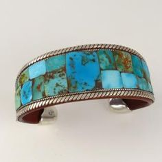 Turquoise Inlay Cuff by Charlie Favour - Garland's Indian Jewelry