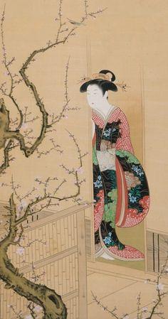 "thekimonogallery: ""Beauty Admiring a Warbler on a Plum Tree"", by artist Tsukioka Settei (Japan, 1710-1786). Main detail. Japan, 18th cent..."