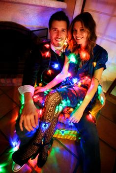 Christmas lights are a fun touch for holiday cards Christmas Couple, Holiday Pictures, Christmas Pictures, Cute Photos, Christmas Photos, Christmas Holidays, Christmas Ideas, Christmas Crafts, Holiday Lights