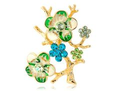 18K Gold Plated Alloy Flower and Branch Shaped Brooch with Diamond Decoration Gold $4.89   This flower with branches brooch decorated with diamond is a great decoration for your clothes.