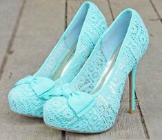 High Heels Blue Lace Prom Shoes. So cute if this would match my dress!