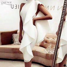 $64.54 - Nice Adyce 2018 New Style Winter Dress Women Sexy White Sleeveless Patchwork Ruffles Bodycon Vestidos Celebrity Party Dress Clubwear - Buy it Now!