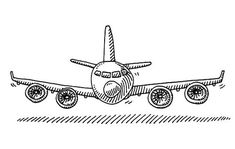 Hand-drawn vector drawing of a Cartoon Airplane, Front View. Simple Airplane Drawing, Paper Airplane Drawing, Airplane Doodle, Airplane Sketch, Airplane Illustration, Cloud Drawing, Line Drawing, Baby Drawing, Cartoon Plane