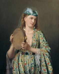 Pierre Désiré Guillemet Portrait of Lady of the Court Playing the Tambourine Google Art Project
