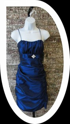 Royal Blue Tiered Dress with Focal Point Rhinestone Embellishment