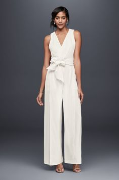 30c6a0532 See more. Chiffon Wedding Dress Surplice Bodice Crepe Jumpsuit with Wide  Sash - Ivory
