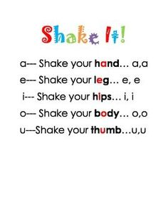"""Short vowels: """"Shake it"""" short vowel sounds song. get those kinesthetic learners learning and moving. While students sing the song, they shake the body part that goes with the vowel. There are also pictures included for visual learners. Word Study, Word Work, Sight Words, Colegio Ideas, Short Vowel Sounds, Kindergarten Literacy, Literacy Games, Vocabulary Games, Early Literacy"""