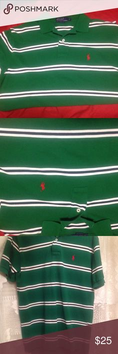 Ralph Lauren Green/White striped polo shirt so Med This is a gently used beautiful green polo shirt from the ever popular Ralph Lauren line. Size is medium. Shirt has 2 button front, front is made a little shorter than the back.. See photo 3 and has 2 slits on each side. No Rips, stains, or tears!! Ralph Lauren Shirts Polos