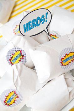 Super Hero Sandwich Labels