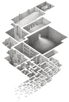 Hypnogogic. Hiding in a Safe Architectural Labyrinth Drawing. By Matt Borrett.