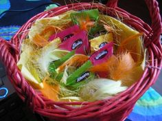 Easter candies for the kids! In Finland on the Palm Sunday a group of children disguised as witches go from door to door and give ornamented willow twigs for candy and other goodies.