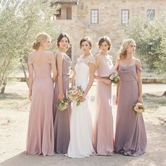 soft dusty lilac bridesmaids dresses