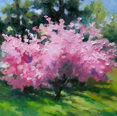 Blooming Pink, painting by artist Nel Jansen.  This just makes me feel good.