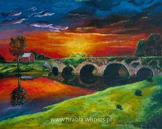 Pejzaż z mostem 40x50cm akryl płótno, zachód słońca, landscape, sunset, chmury, clouds, bridge