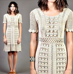Boho Crochet, Crochet Vintage, Crochet Fashion, Cardigan Au Crochet, Knit Dress, Vestidos Vintage, Mini Vestidos, Handmade Dresses, Handmade Clothes