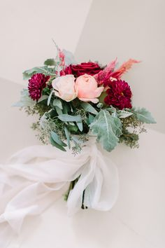 Pink and Burgundy Rose and Dahlia Bouquet