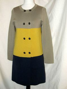 Sz 6 Bodin Mod Block Knit Dress Coat Long Sleeves Taupe Gold Navy Button Front