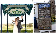 Original unique hand-quilted chuppah covering // Quilting Maven's Modern Jewish Wedding at La Costa   Modern Jewish Wedding Blog  // Photographer: Donna Von Bruening