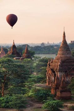 Bagan, Myanmar:   This ancient city in central Myanmar is made up of thousands (yes, thousands) of Buddhist temples and pagodas. One of the prettiest views is from above—we recommend going for a hot air balloon ride at sunrise.