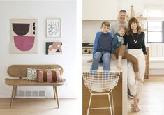 Left: On the left, a wall tapestry from Ampersand hangs above the cane bench—a sample of what's to come in their new spring line up. Right: From left: Shaw, Dan, Lennon, and Morgan Georgie. Photos by Aaron Leimkuehler Spring Line, Ikea Chair, Wood Slab, Arts And Crafts Supplies, White Vinyl, Room Set, White Walls, Home Renovation, Building Design