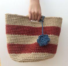 Crocheted Jute bag with cute crochet flower bag tag Flower Bag, Jute Bags, Bag Tag, Cute Crochet, Crochet Accessories, Crochet Flowers, Straw Bag, Handbags, Fashion