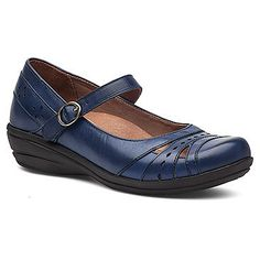 Dynamic cutouts and stitching accents lend artisanal flair to the Dansko Mathilda Mary Jane, which features a removable cushioned insole with TPU heel and arch