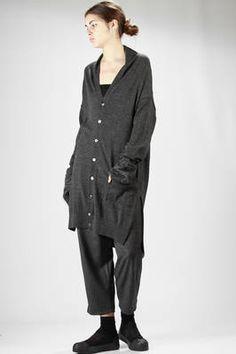 Zucca   Long jersey cardigan with mohair muffs   #zucca