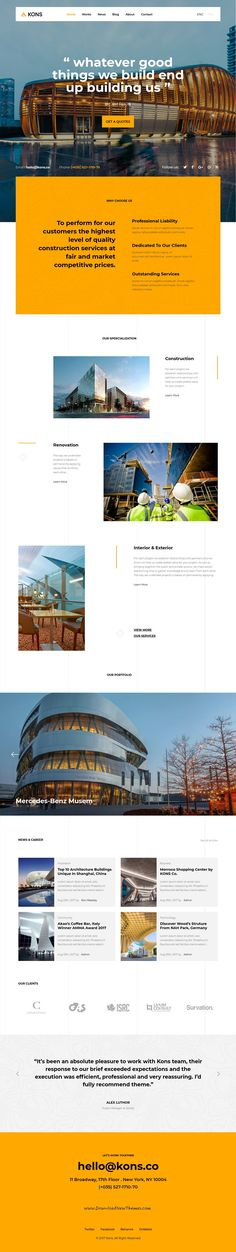 Kons is clean and modern design 6in1 responsive #bootstrap HTML template for stunning #construction, architects and #building companies website to live preview & download click on Visit