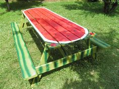 watermelon     table | Side view of watermelon picnic table