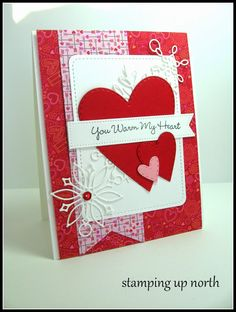 stamping up north, Memory box pierced heart layers, Poppy stamps frozen flakes, My favorite things