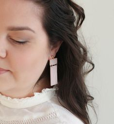 Art deco powder pink modern statement earrings Extra | Etsy Pink Earrings, Statement Earrings, Drop Earrings, Photo Jewelry, Jewelry Box, Powder Pink, Beautiful Gift Boxes, Earrings Handmade, Sculpting