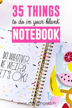35 Things To Do in Your Blank Notebook - not defteri ile ilgili 35 fikir/oneri Things To Do When Bored, When Im Bored, Fun Things To Buy, Bujo, My Journal, Journal Prompts, Diy Kit, Doodles, Smash Book