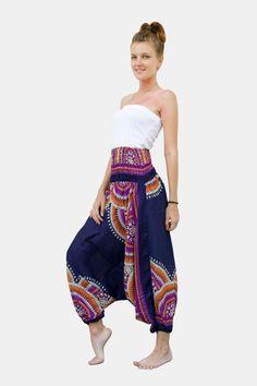 Thai Harem Pants Women Jumpsuit Floral Feather Haze Blue