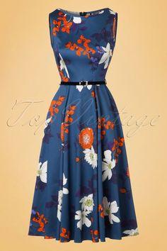 Lady V by Lady Vintage - 50s Hepburn Japanese Floral Swing Dress in Blue