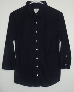 $19.95 OBO j. crew haberdashery navy blue 3/4 sleeve button down shirt size: xs #freeshipping