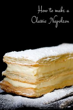 Making a classic, elegant French Napoleon (AKA, Mille Feuille) is much easier th. - Making a classic, elegant French Napoleon (AKA, Mille Feuille) is much easier than it appears. Puff Pastry Desserts, Puff Pastry Recipes, Köstliche Desserts, Pastry Cake, Phyllo Dough Recipes, Choux Pastry, Easter Desserts, Plated Desserts, Delicious Desserts